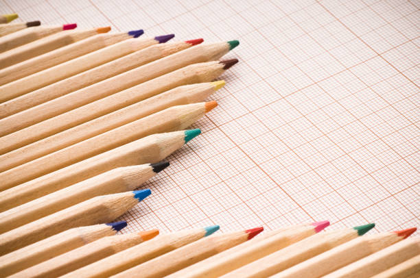 Colored pencils chart stock photo