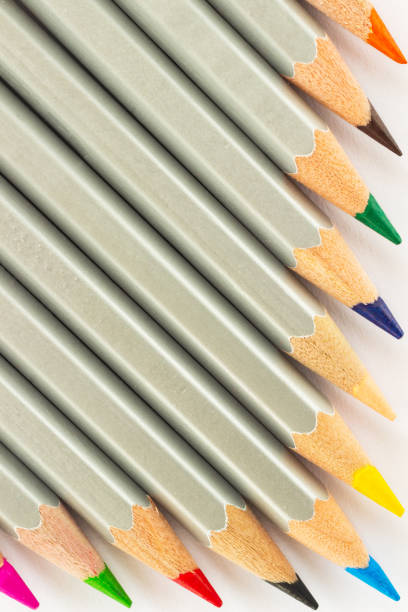 Colored pencils close up stock photo