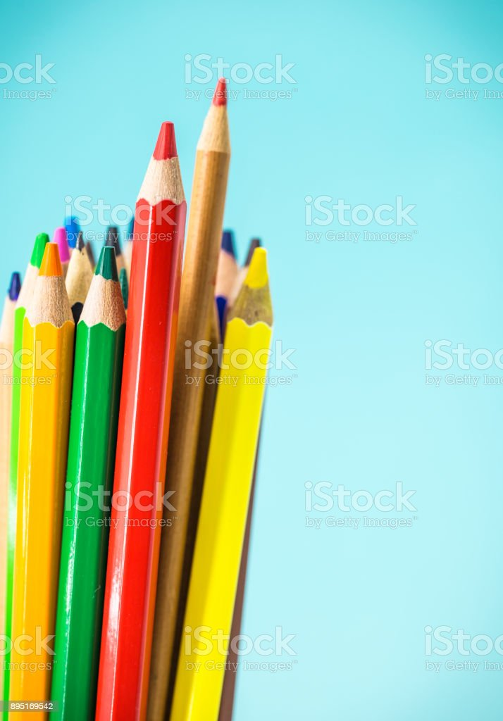 colored pencils close-up stock photo