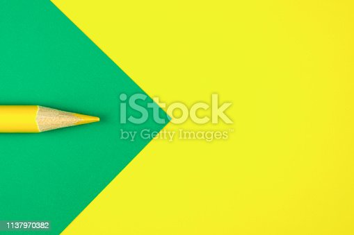 istock Colored pencils color papers geometry flat composition background 1137970382
