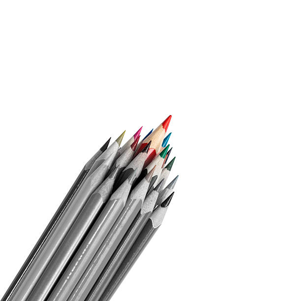 colored pencils group as a cohesive and purposeful team metaphor - detachment stock pictures, royalty-free photos & images