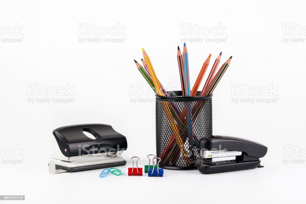 Colored pencils in a case on white background - fotografia de stock