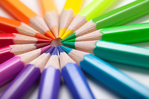 colored pencils in a circle - coloured pencil stock photos and pictures