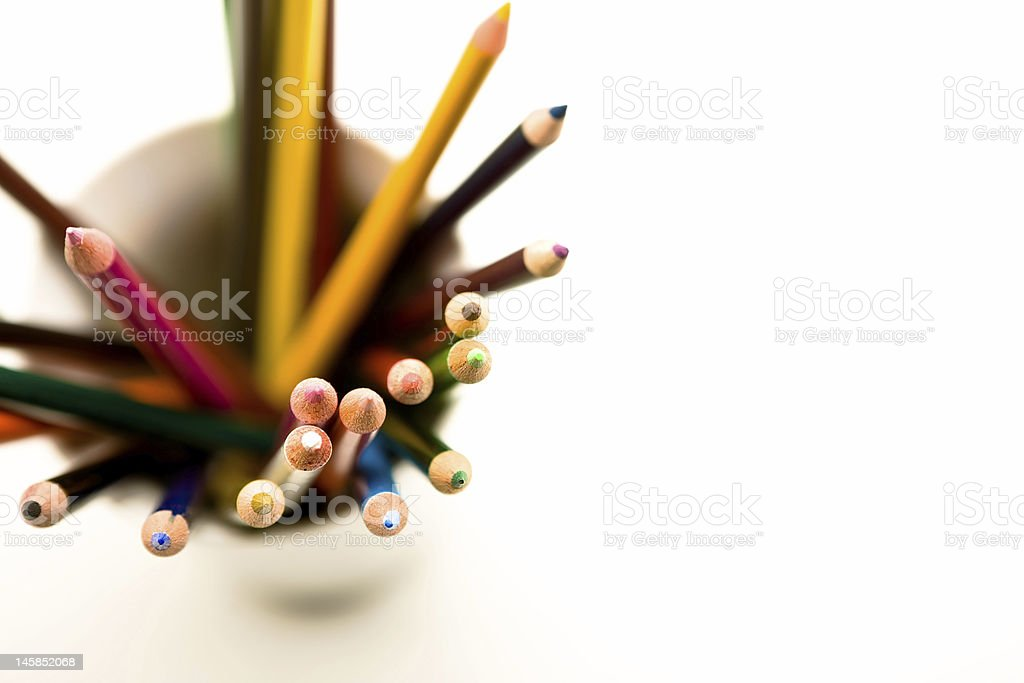 Colored Pencils in a cup stock photo