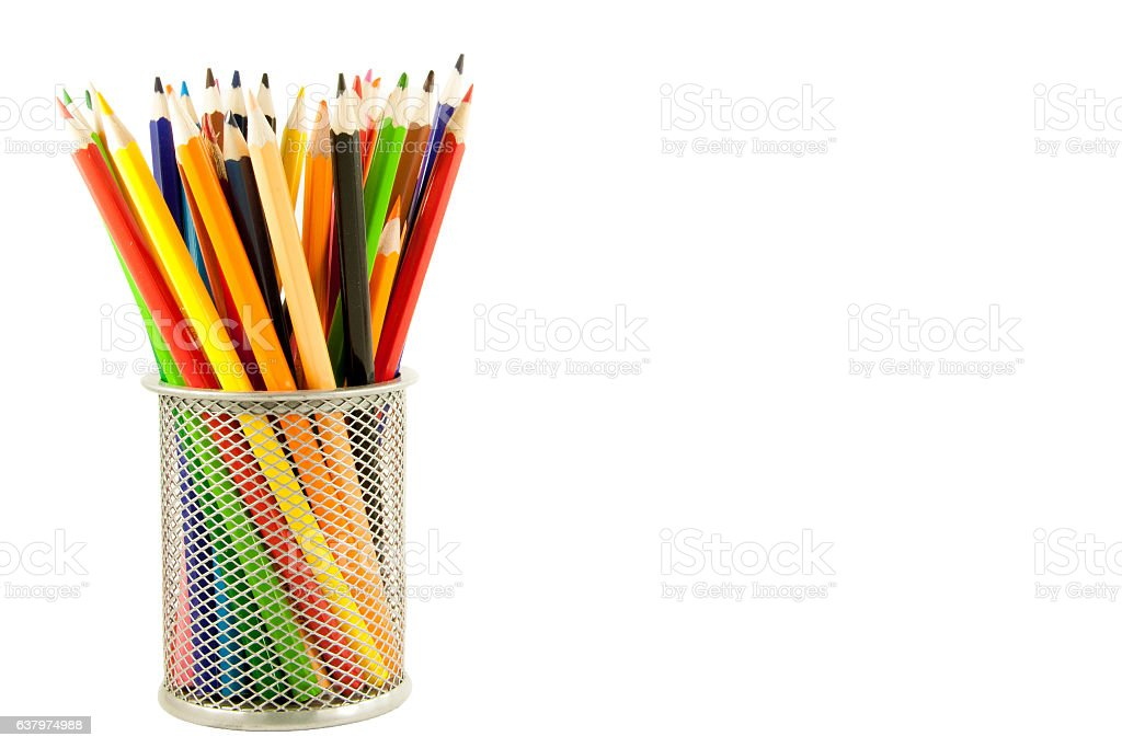 colored pencils in a stand stock photo
