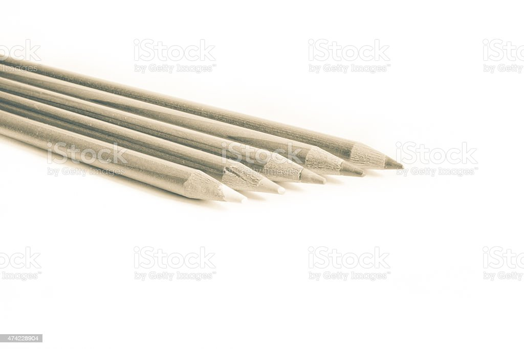 colored pencils in white background stock photo