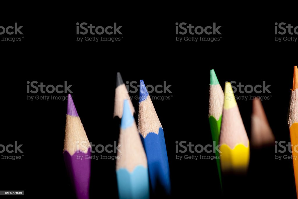 Colored Pencils Isolated on Black royalty-free stock photo