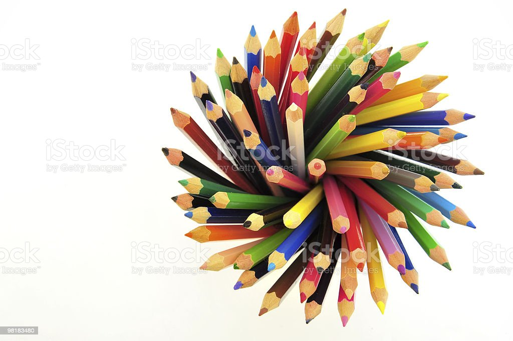 Colored pencils isolated on white background royalty-free stock photo