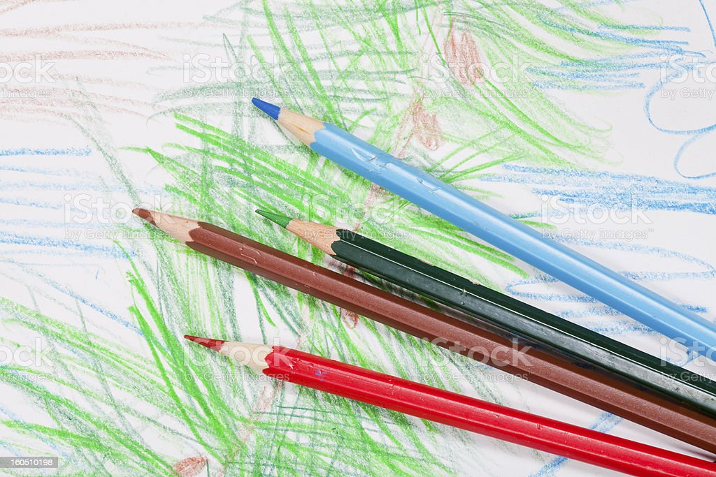 colored pencils on children draw royalty-free stock photo