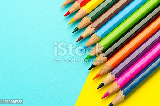 Colored pencils on color background