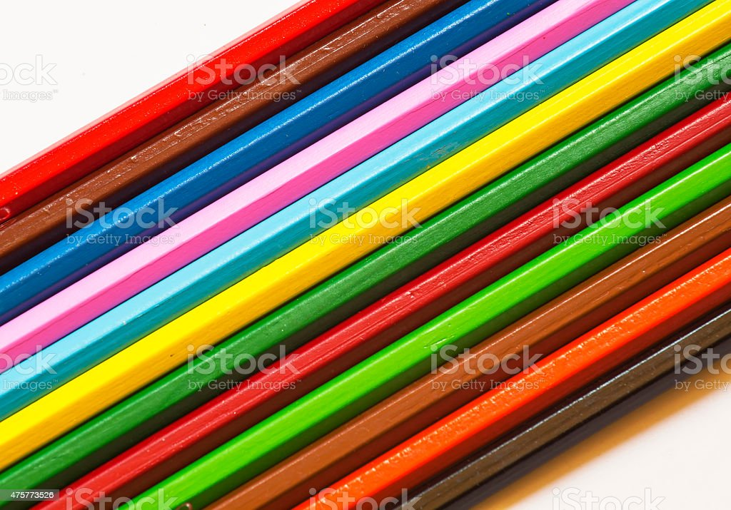 Colored pencils on white background, selective focus stock photo
