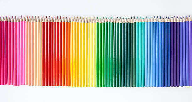 colored pencils on white - coloured pencil stock photos and pictures