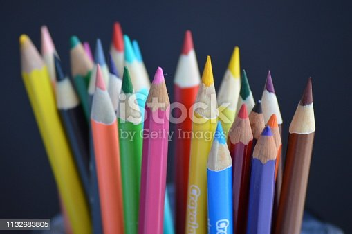 Sharpened colored pencils in a variety of colors