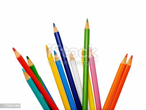 Colorful pencils isolated on white background.