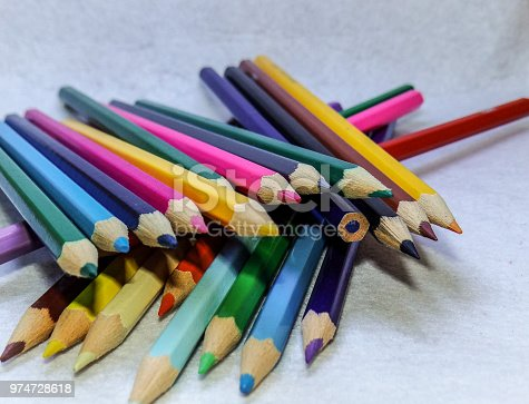 A lot of colored pencils waiting to be used