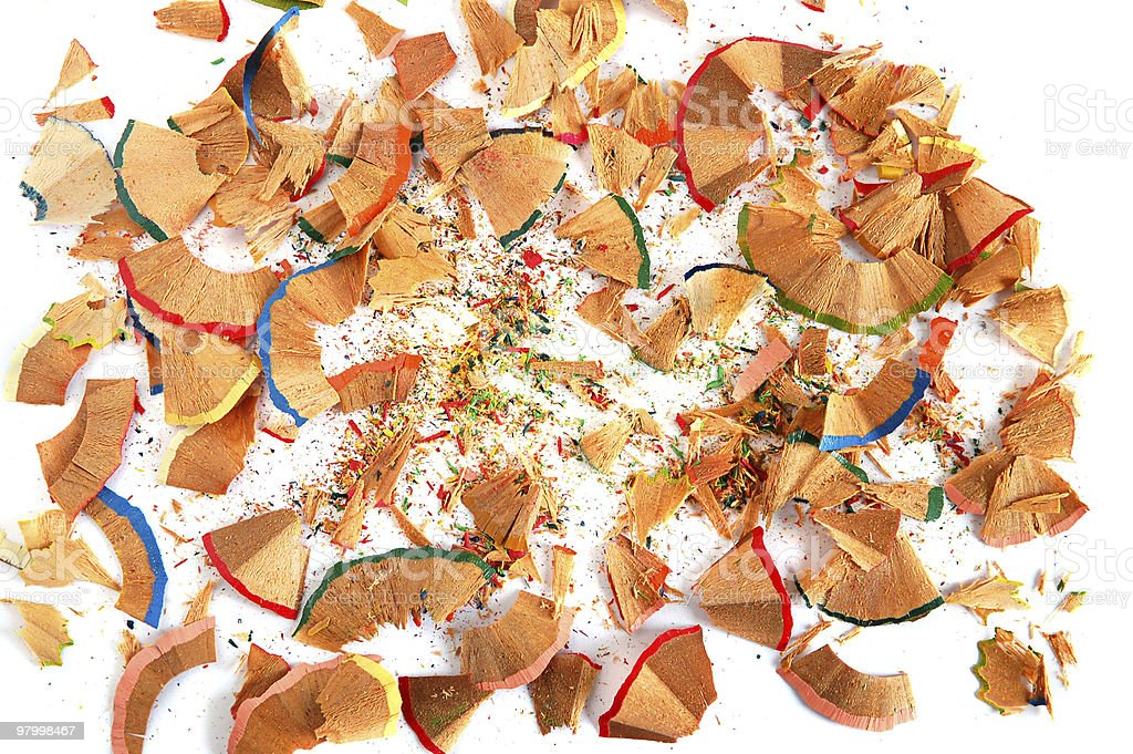 Colored pencils shavings royalty-free stock photo