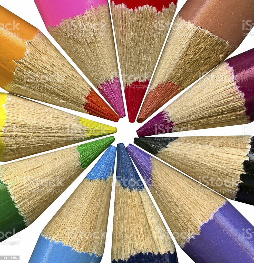 Colored pencils team on white background royalty-free stock photo