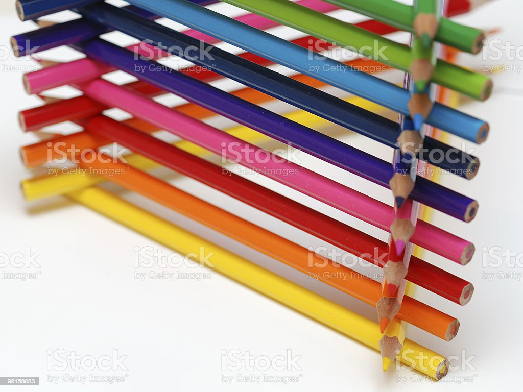 colored pencils triangle royalty-free stock photo