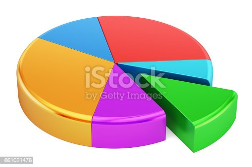 172875849 istock photo Colored Pie Chart, 3D rendering isolated on  white background 661021476