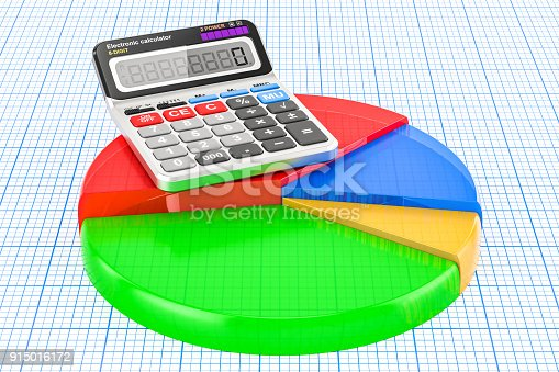 172875849 istock photo Colored pie chart with calculator, 3D rendering 915016172