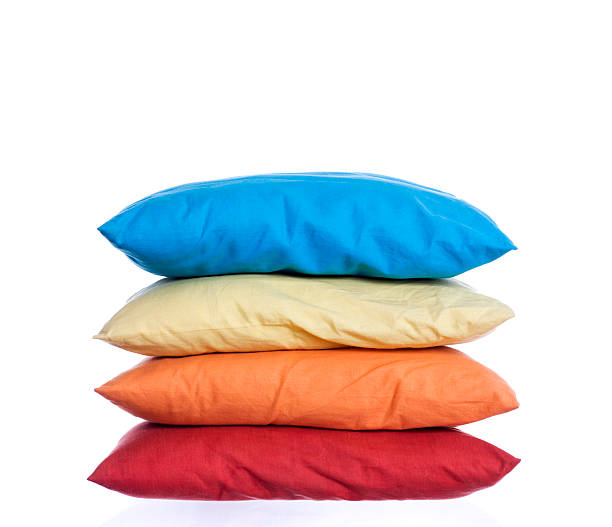 Colored pillows for sleeping and fun stock photo