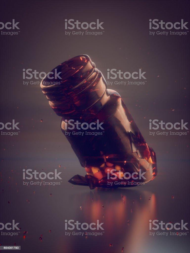 Colored pills and broken jar 3d rendering stock photo