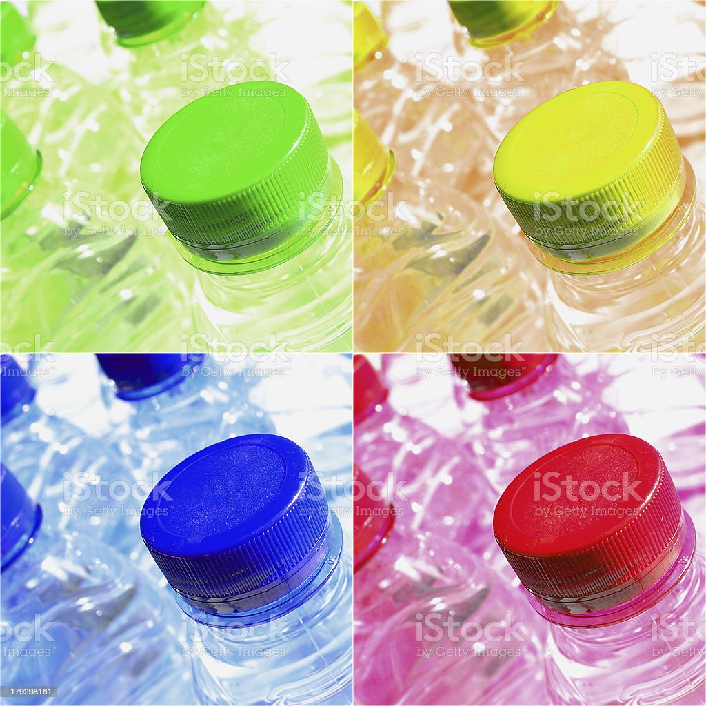 Colored Plastic Bottles of Water royalty-free stock photo