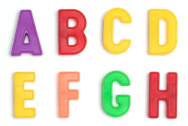 colored plastic letters a through h - 磁石 個照片及圖片檔