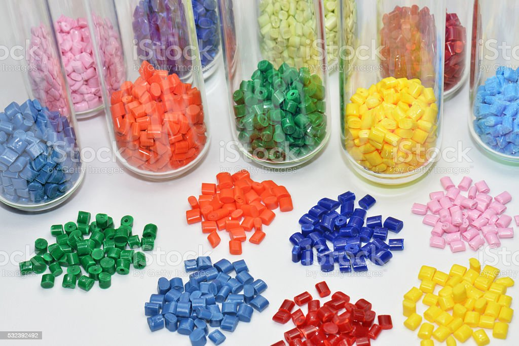 colored polymer resins stock photo