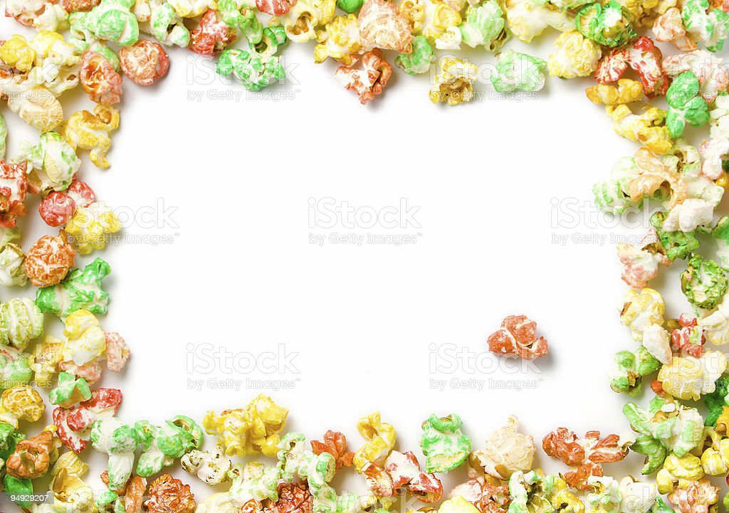 colored popcorn full border with space for text stock photo