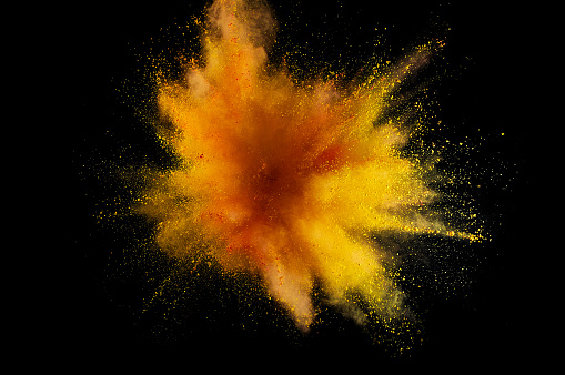 istock Colored powder explosion. Abstract closeup dust on backdrop. Colorful explode. Paint holi 1032581204