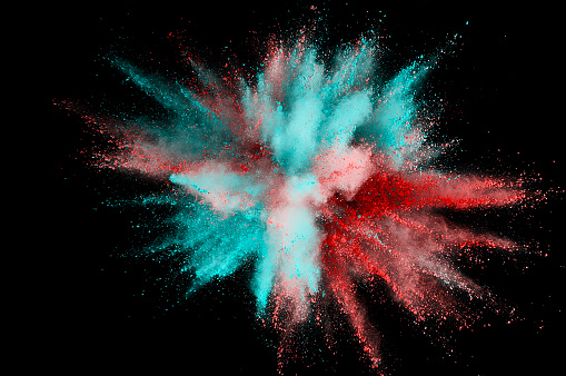 istock Colored powder explosion. Abstract closeup dust on backdrop. Colorful explode. Paint holi 1068718942