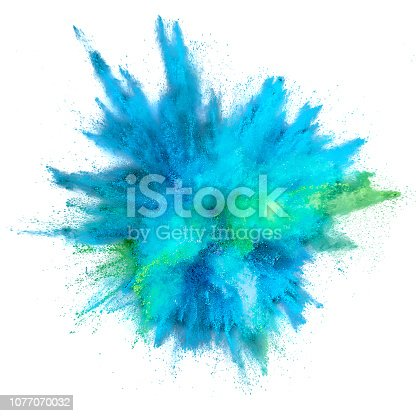 istock Colored powder explosion. Abstract closeup dust on backdrop. Colorful explode. Paint holi 1077070032