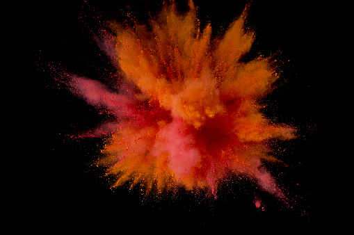 istock Colored powder explosion. Abstract closeup dust on backdrop. Colorful explode. Paint holi 1160425807