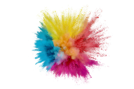 istock Colored powder explosion on a white background. Abstract closeup dust on backdrop. Colorful explode. Paint holi 1160427640