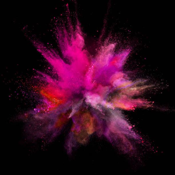 farbpulver explosion auf schwarzem hintergrund. - regenbogen make up stock-fotos und bilder
