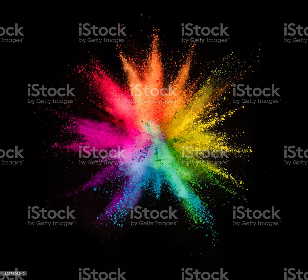 Explosion de poudre colorées sur fond noir - Photo de Abstrait libre de droits