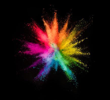 Photo libre de droit de Explosion De Poudre Colorées Sur Fond Noir banque d'images et plus d'images libres de droit de Abstrait
