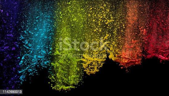 857348256istockphoto Colored powder explosion on black background. 1142690013