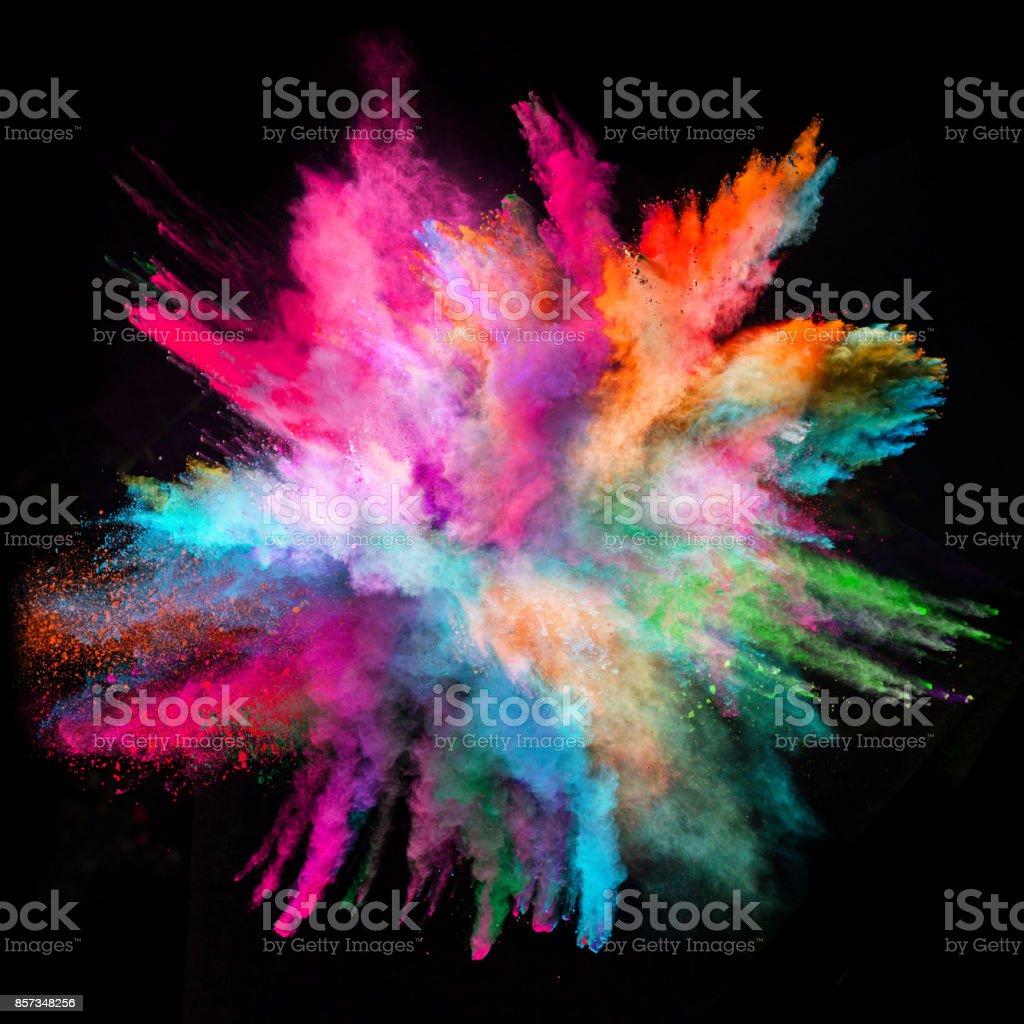 Explosión de polvo coloreado sobre fondo negro foto de stock libre de derechos