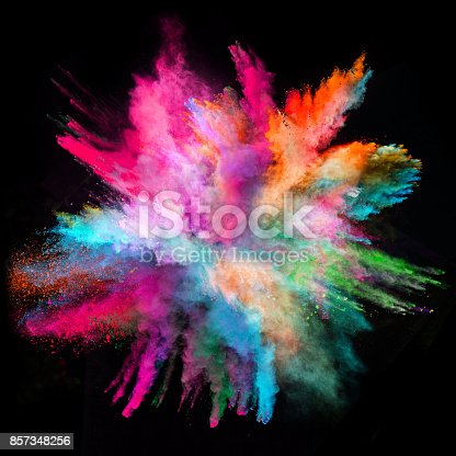 istock Colored powder explosion on black background 857348256