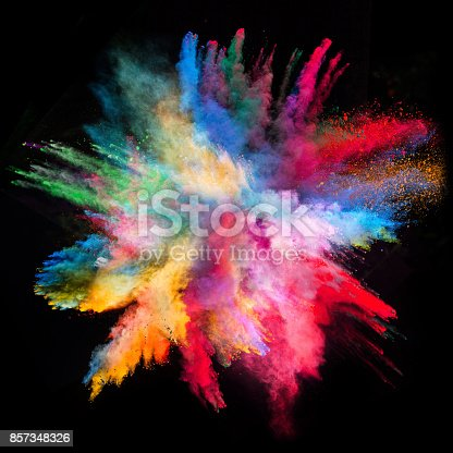 857348256istockphoto Colored powder explosion on black background 857348326
