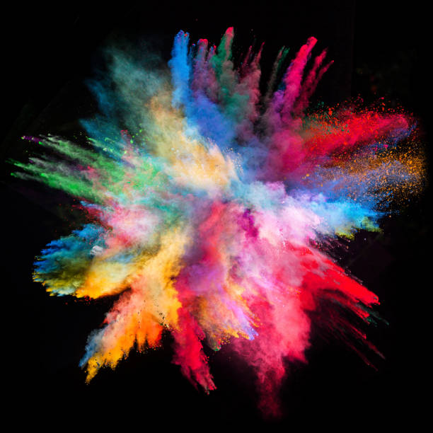 colored powder explosion on black background - abstract multicolored powder explosion stock photos and pictures