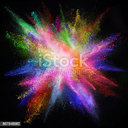 857348256istockphoto Colored powder explosion on black background 857348582
