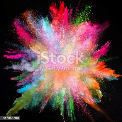 857348256istockphoto Colored powder explosion on black background 857348750