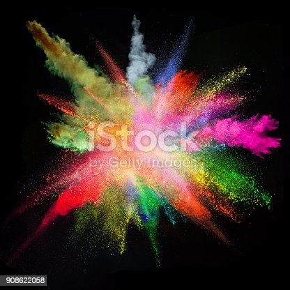 857348256istockphoto Colored powder explosion on black background 908622058