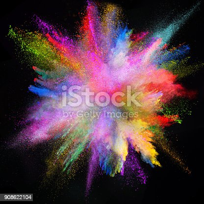 857348256istockphoto Colored powder explosion on black background 908622104