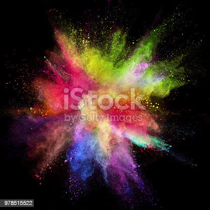 857348256istockphoto Colored powder explosion on black background 978515522