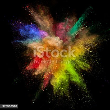 857348256istockphoto Colored powder explosion on black background 978516018