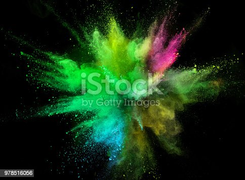 857348256istockphoto Colored powder explosion on black background 978516056